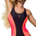 Sportovní jednodílné plavky s neonovými akcenty