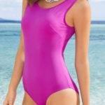 Levné fialové dámské jednodílné plavky