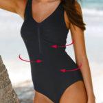 Jednobarevné zeštíhlující dámské plavky s výstřihem na zip