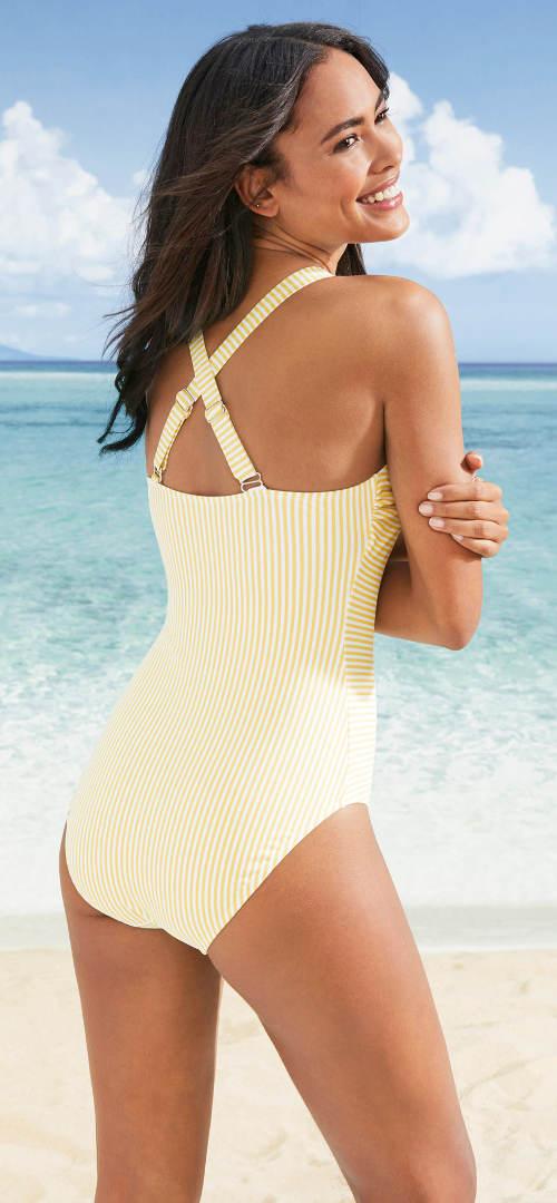Pruhované jednodílné plavky se sportovními zády