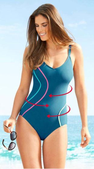 Tvarující dámské jednodílné plavky se zeštíhlujícími proužky