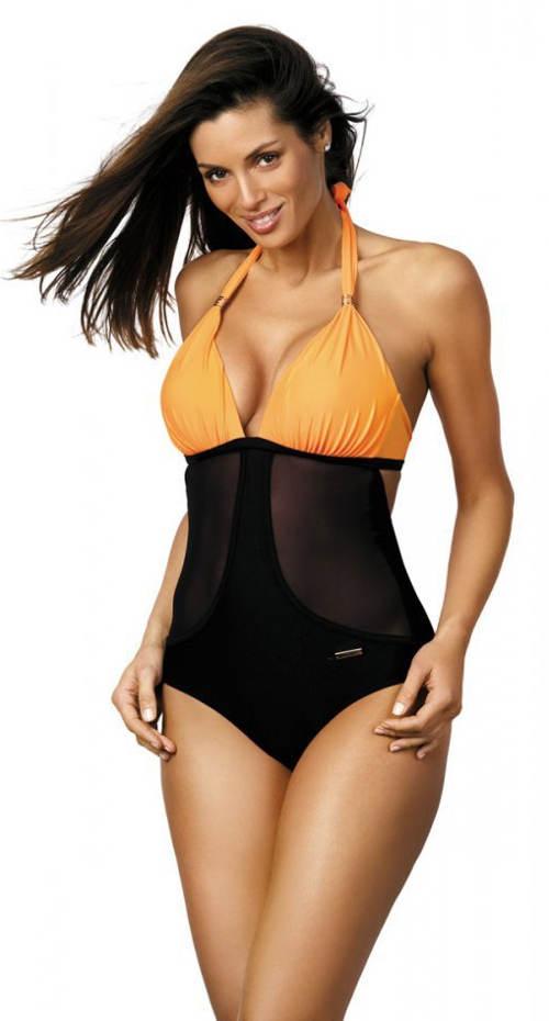 Černo-oranžové jednodílné plavky s průsvitnými vsadkami