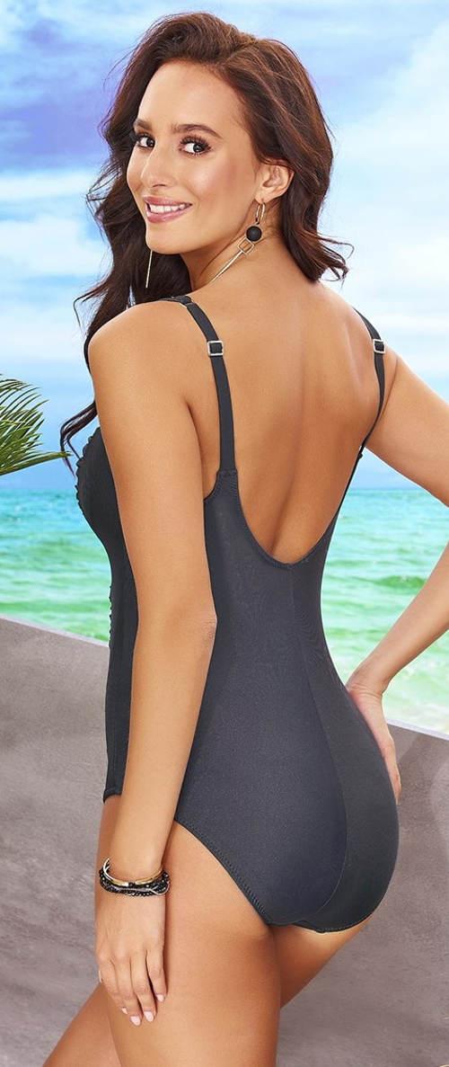 Kovově šedé dámské jednodílné plavky