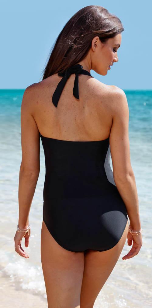 Černé jednodílné plavky s ramínky za krk