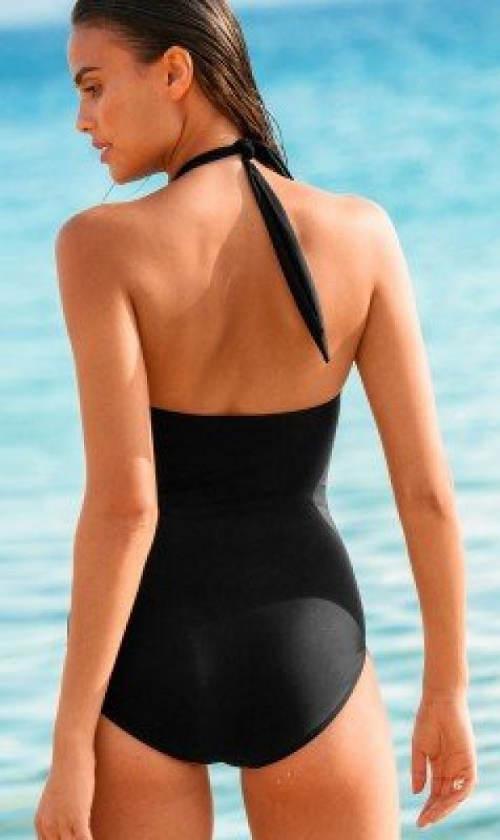 Černé jednodílné plavky se zavazováním za krk