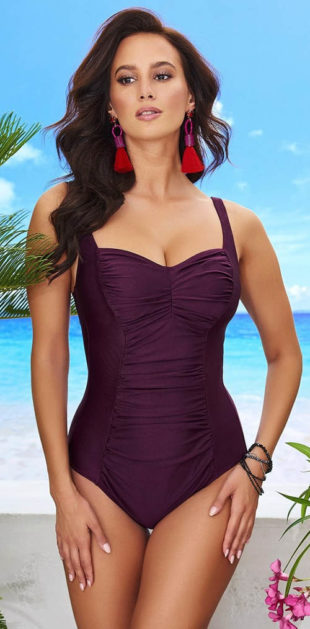 Dámské jednodílné plavky Chloe Grape pro plné tvary
