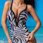 Dámské jednodílné plavky zebra
