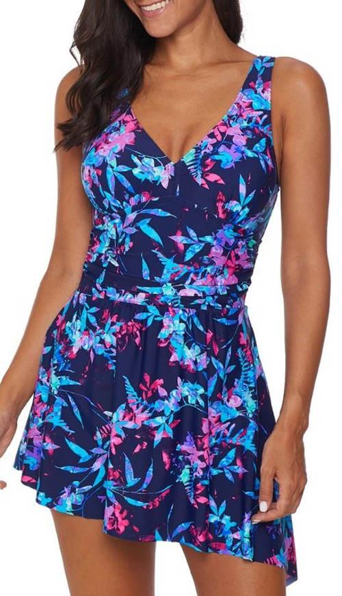 Modré květinové koupací šaty