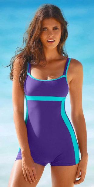 Výprodejové dámské jednodílné plavky s nohavičkou
