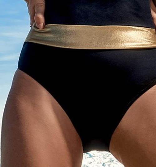 Černé dámské plavky se zlatými pruhy