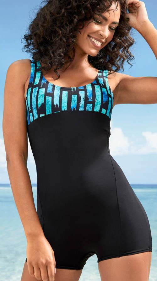 Černo-modré nohavičkové jednodílné plavky