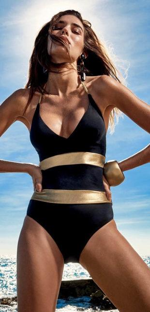 Luxusní černozlaté jednodílné plavky Mattia