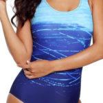 Modré batikované jednodílné plavky