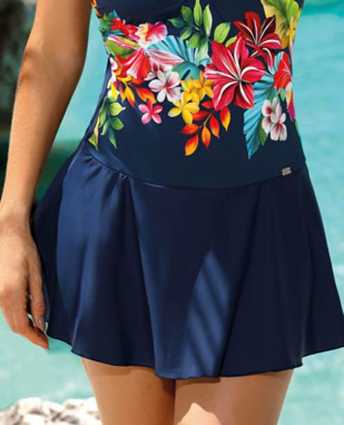 Modré sukňové dámské plavky