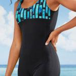 Nohavičkové jednodílné dámské retro plavky