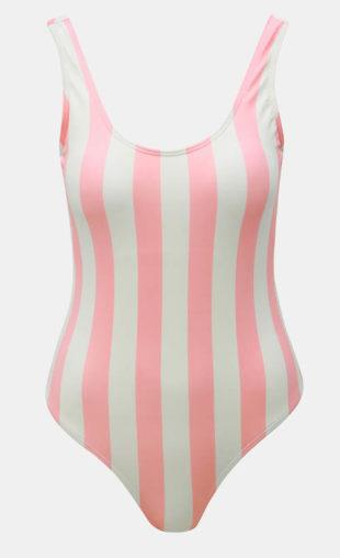 Bílo-růžové pruhované jednodílné retro plavky