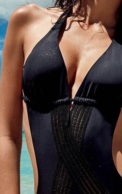 Černé krajkové dámské jednodílné plavky