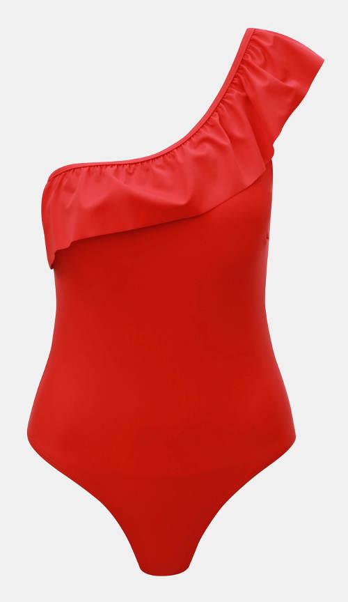 Červené jednoramínkové plavky s volánem