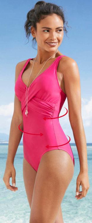 Jednobarevné dámské plavky se stahovacím překřížením pod prsy