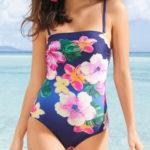 Květinové jednodílné plavky s bandeau horním dílem