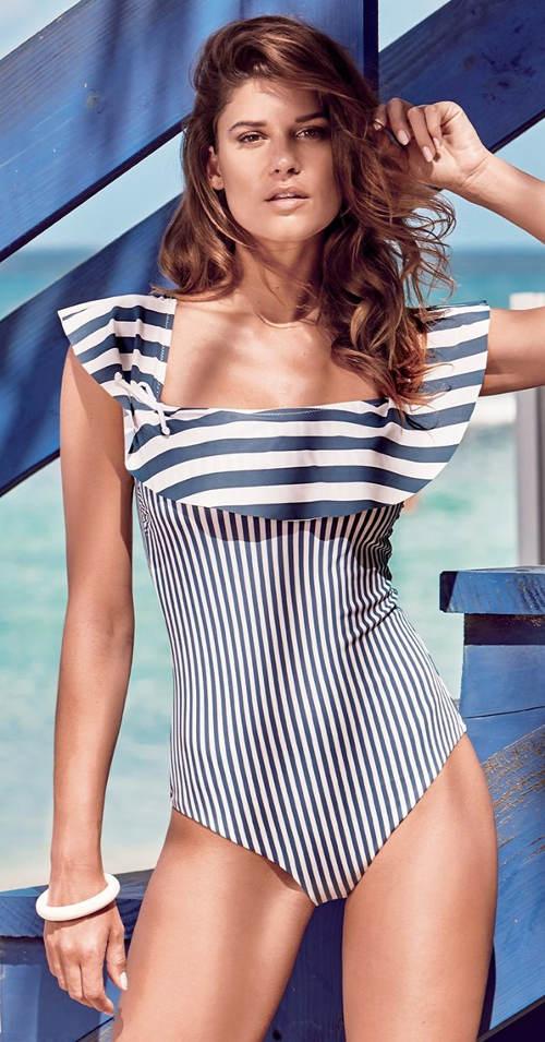 Námořnické dámské jednodílné plavky s volánem přes prsa