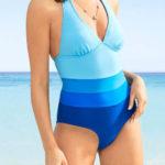 Pruhované jednodílné plavky se zavazováním za krkem