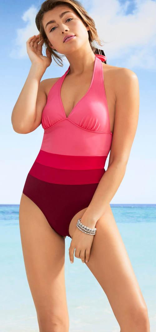 Růžové pruhované jednodílné plavky s nevyztuženými košíčky