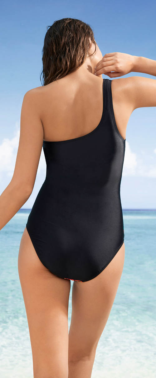Černé jednodílné plavky s jedním ramínkem
