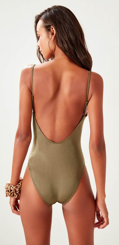 Khaki jednodílné plavky s hluboce vykrojenými zády
