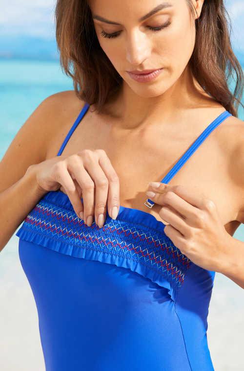 Modré dámské jednodílné plavky s odnímatelnými ramínky