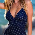 Modré jednodílné dámské plavky s drobnými puntíky