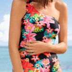 Květované jednoramínkové dámské plavky Bonprix