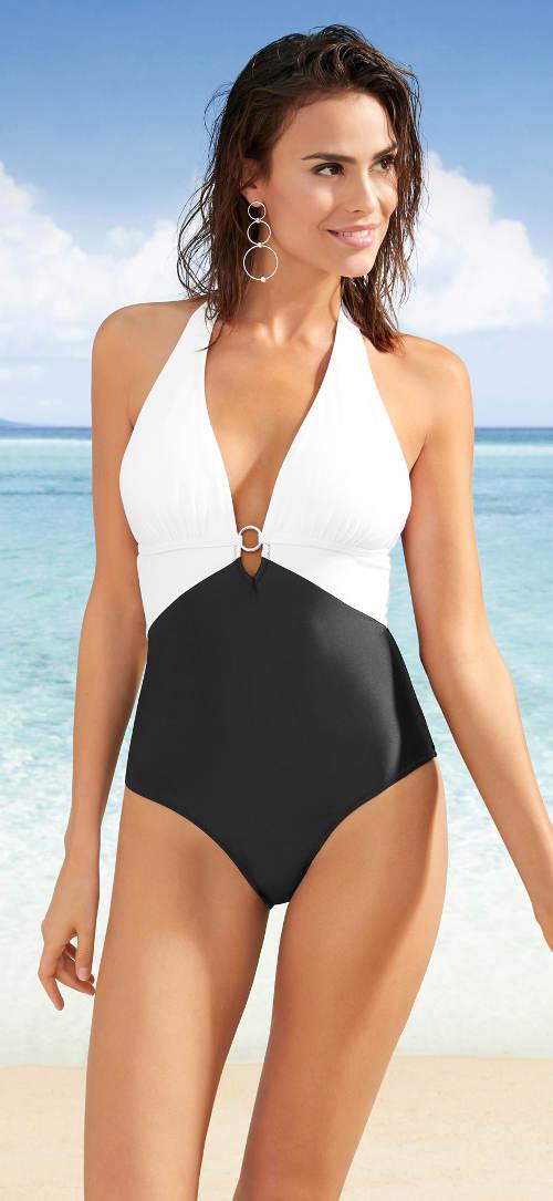 Jednodílné plavky s černým spodním a bílým horním dílem
