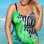 Plavky pro plnoštíhlé v tropickém designu