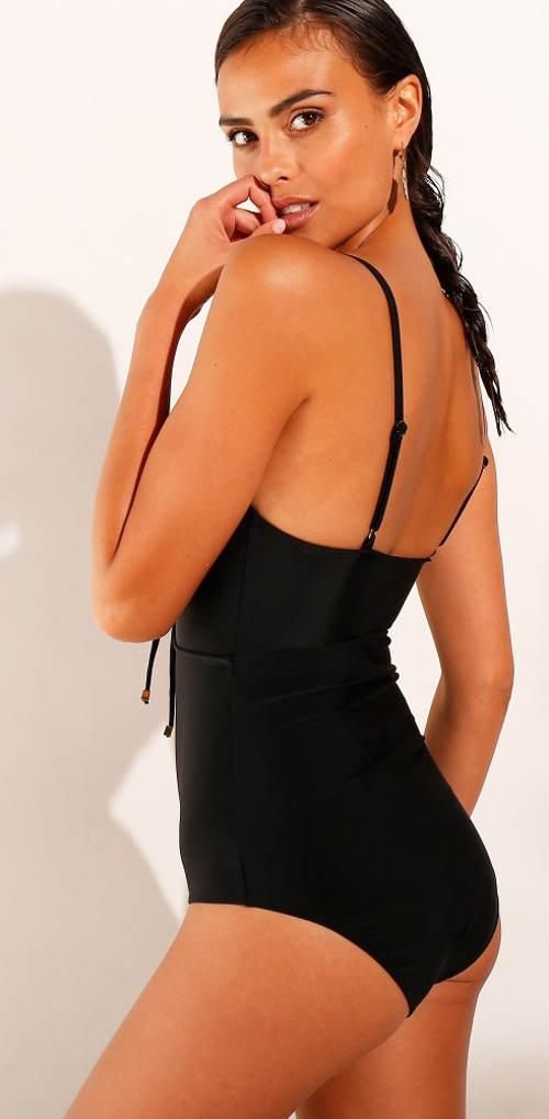 Jednobarevné černé dámské jednodílné plavky Blancheporte