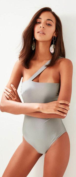 Stříbrno-šedé dámské plavky na jedno rameno