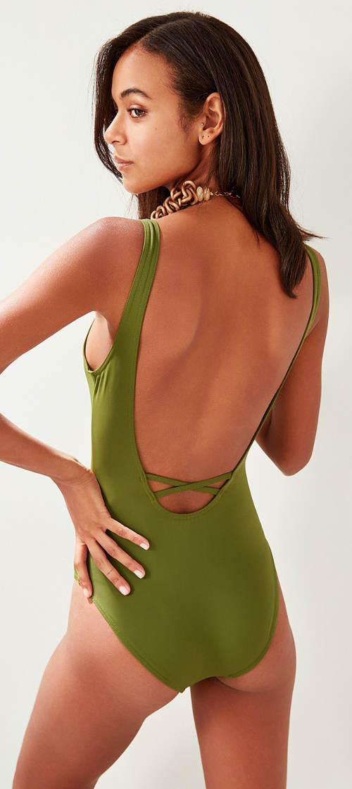 Zelené dámské jednodílné plavky s volnými zády