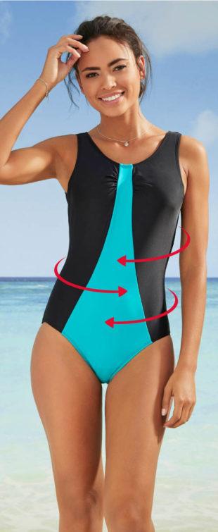 Zeštíhlující sportovní dámské jednodílné plavky