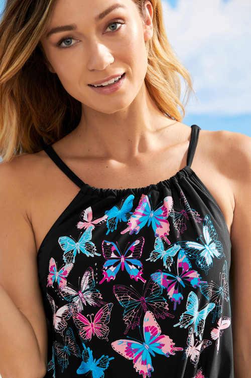 Dámské jednodílné plavky s motýlky