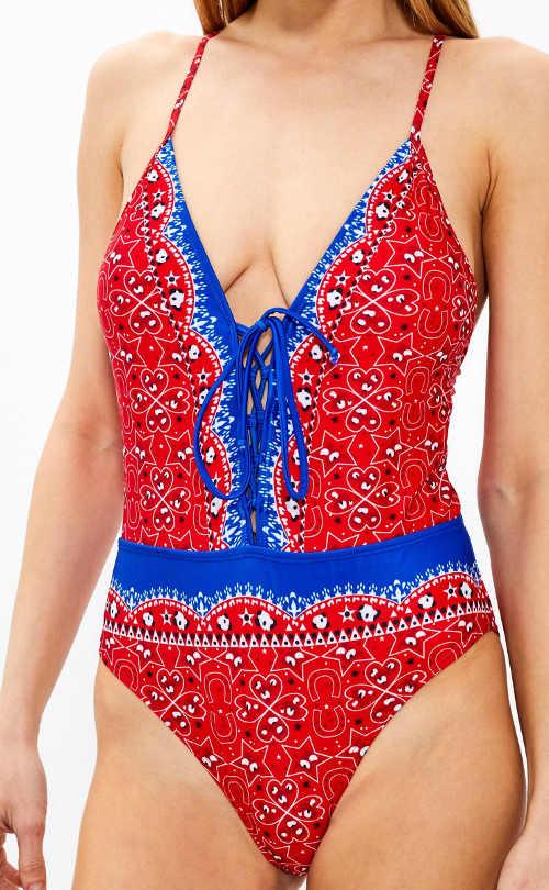 Červené dámské jednodílné plavky výprodej