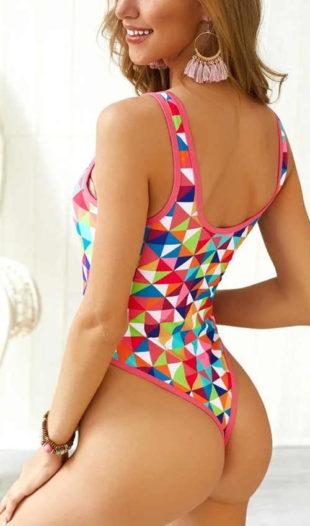 Pestrobarevné dámské jednodílné tanga plavky