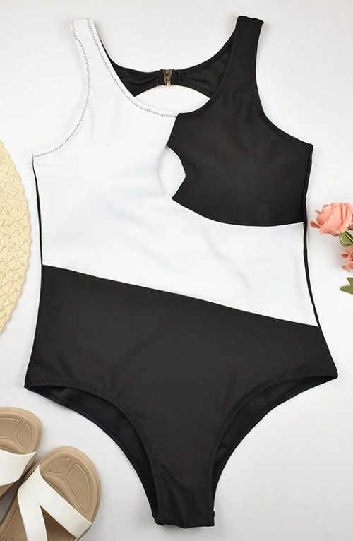 Plavky kombinace černé a bílé