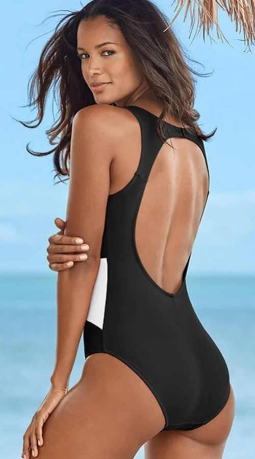 Sportovní černobílé dámské dvoudílné plavky