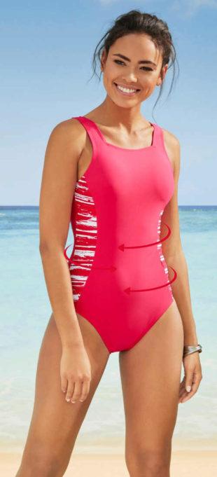 Sportovní stahovací jednodílné plavky růžové barvy