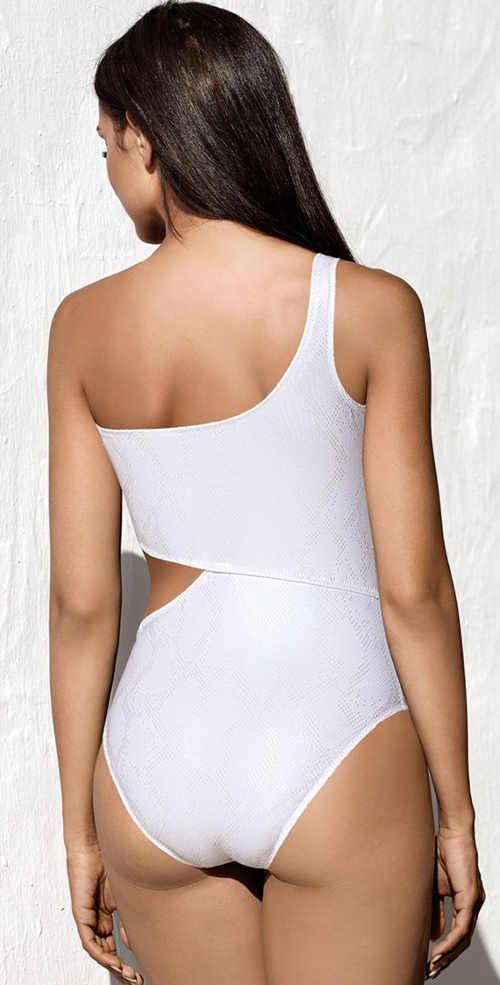 Bílé monokiny Lorin na jedno rameno