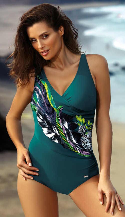 Exotické jednodílné plavky s vyztuženými košíčky modelující prsa
