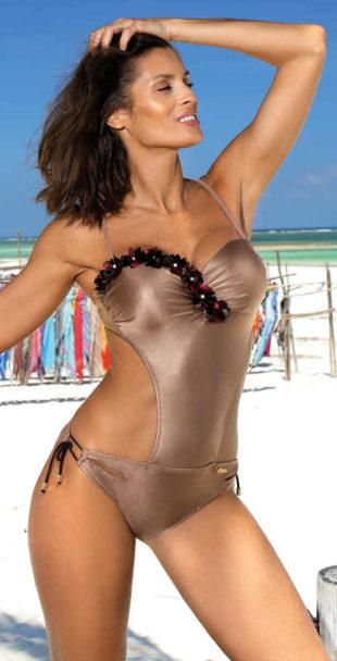 Lesklé bronzové jednodílné plavky s double push up efektem