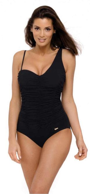 Černé jednobarevné zeštíhlující plavky pro plnoštíhlé s jedním širším ramínkem