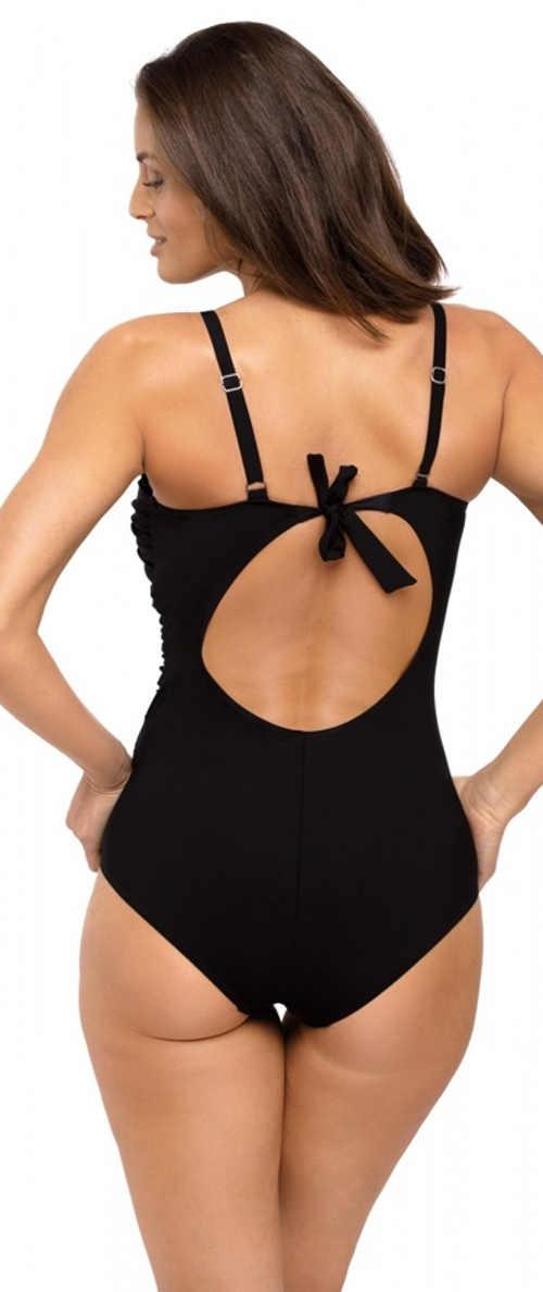 Jednobarevné černé jednodílné plavky s mašličkou na zádech