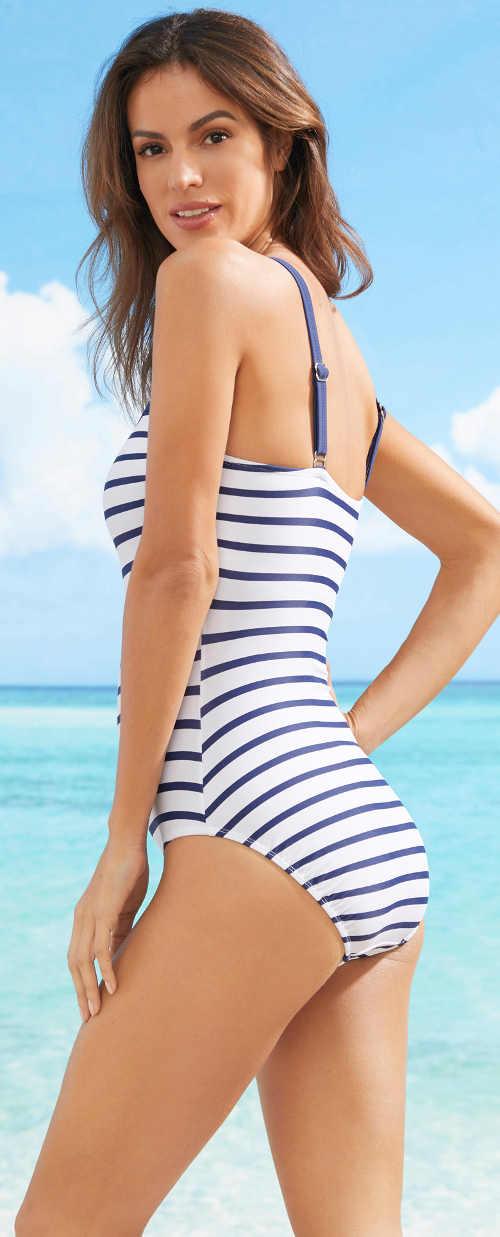 Modrobílé pruhované dámské plavky námořnický styl